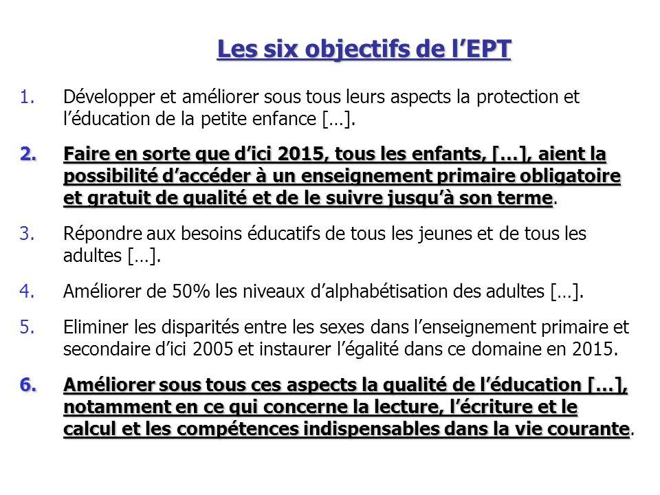 Les six objectifs de lEPT 1.Développer et améliorer sous tous leurs aspects la protection et léducation de la petite enfance […]. 2.Faire en sorte que