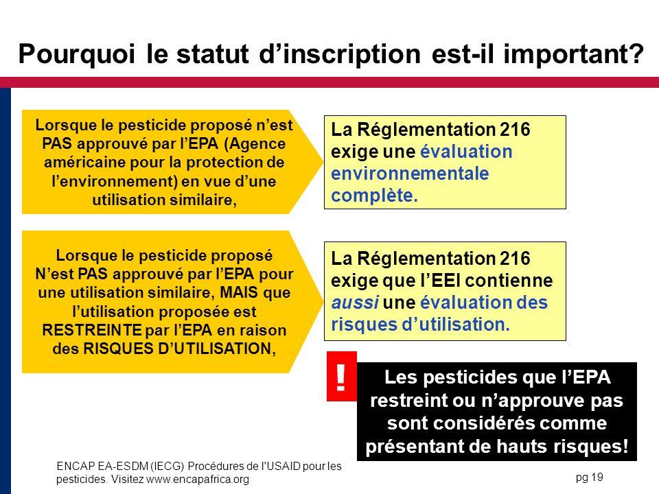 ENCAP EA-ESDM (IECG) Procédures de l USAID pour les pesticides.