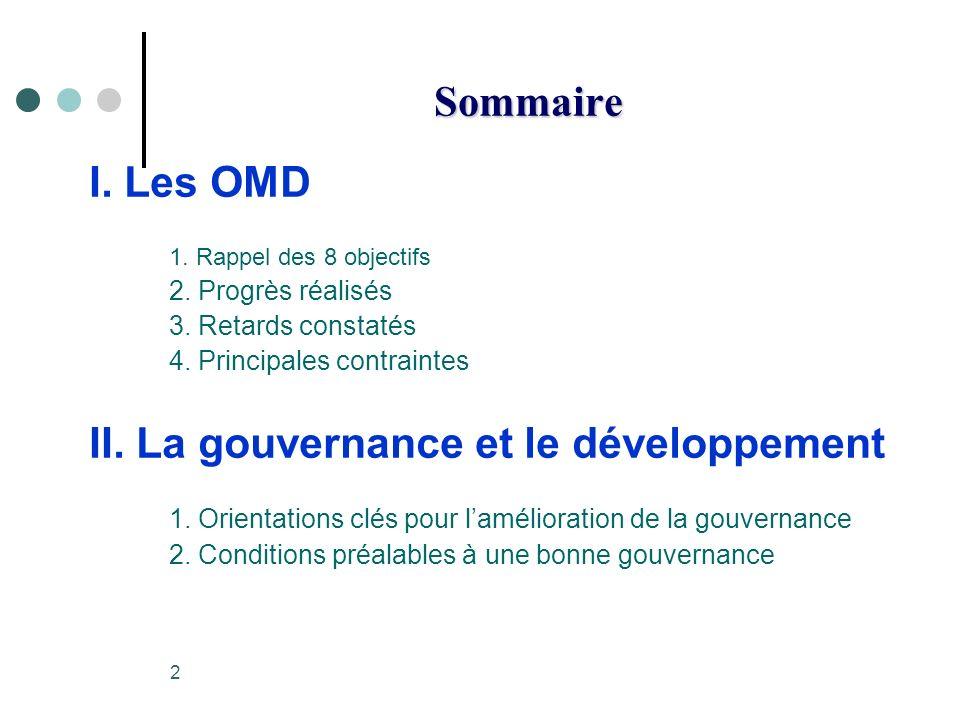 2 Sommaire I. Les OMD 1. Rappel des 8 objectifs 2.