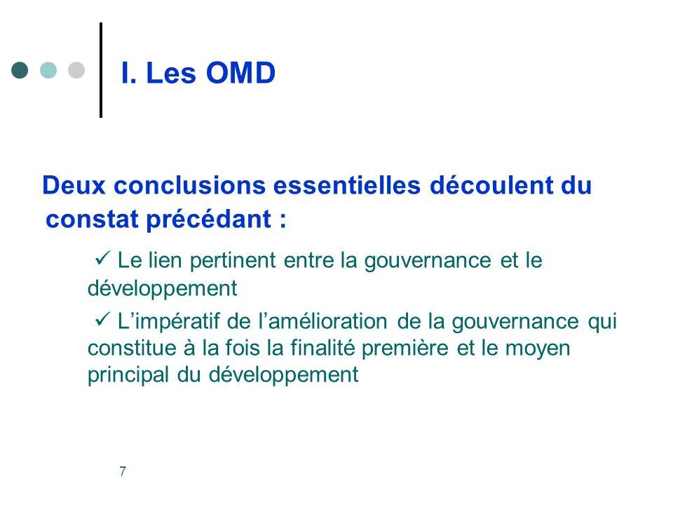 7 I. Les OMD Deux conclusions essentielles découlent du constat précédant : Le lien pertinent entre la gouvernance et le développement Limpératif de l