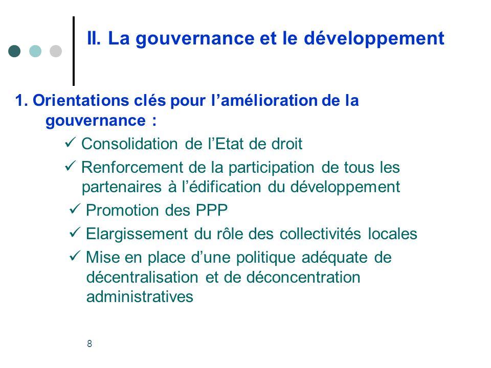 8 II. La gouvernance et le développement 1.