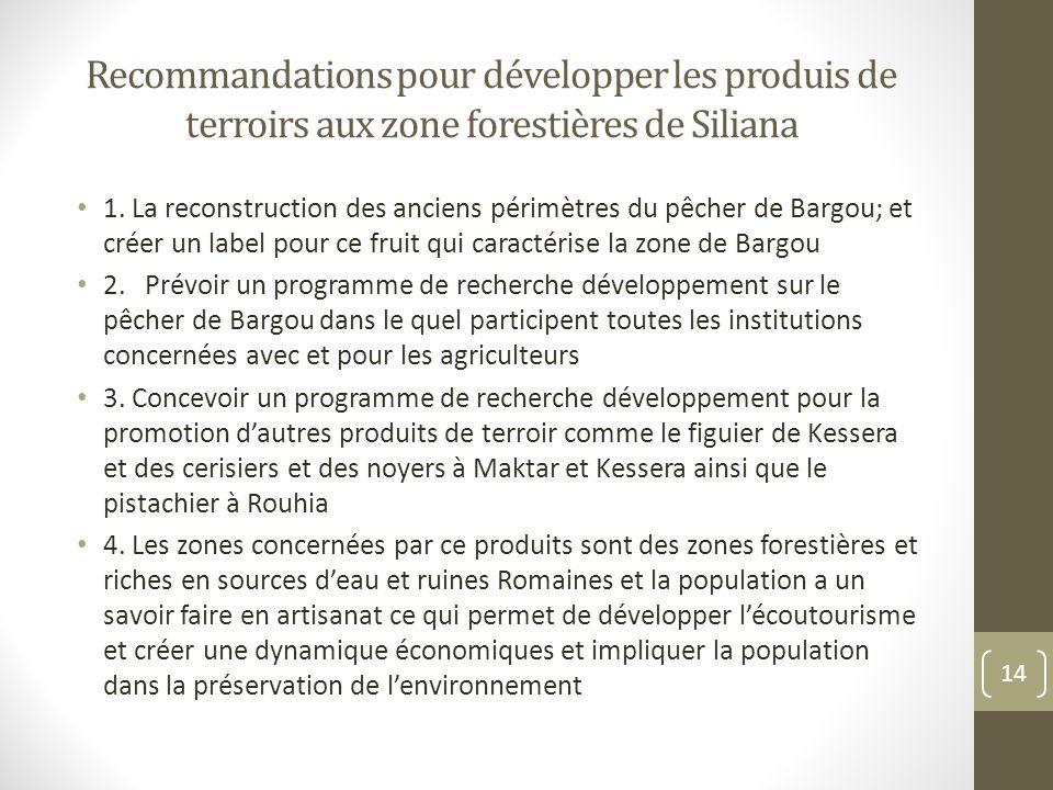 Recommandations pour développer les produis de terroirs aux zone forestières de Siliana 1.