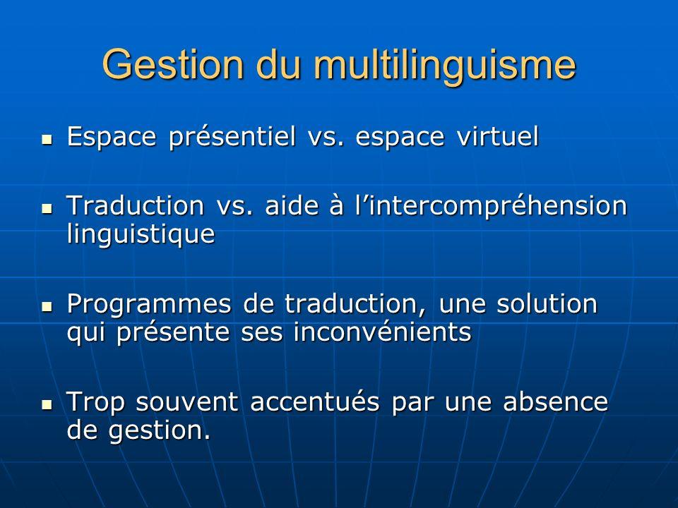 Gestion du multilinguisme Espace présentiel vs. espace virtuel Espace présentiel vs.
