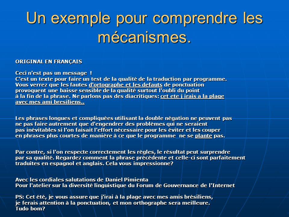 Un exemple pour comprendre les mécanismes. ORIGINAL EN FRANÇAIS Ceci n est pas un message .