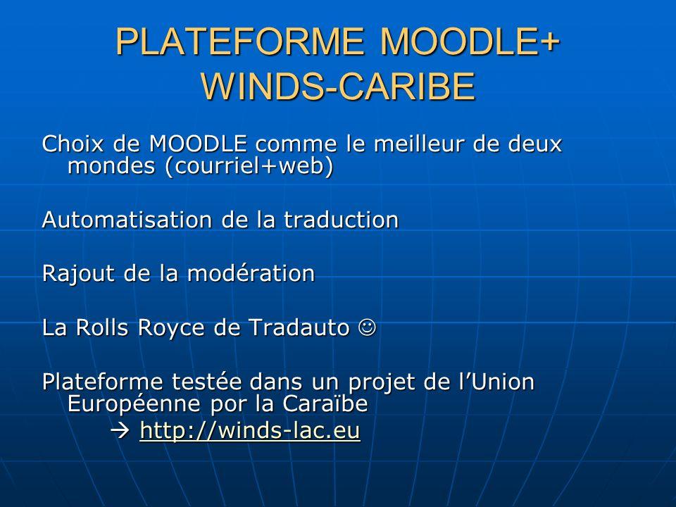 PLATEFORME MOODLE+ WINDS-CARIBE Choix de MOODLE comme le meilleur de deux mondes (courriel+web) Automatisation de la traduction Rajout de la modération La Rolls Royce de Tradauto La Rolls Royce de Tradauto Plateforme testée dans un projet de lUnion Européenne por la Caraïbe http://winds-lac.eu http://winds-lac.euhttp://winds-lac.eu