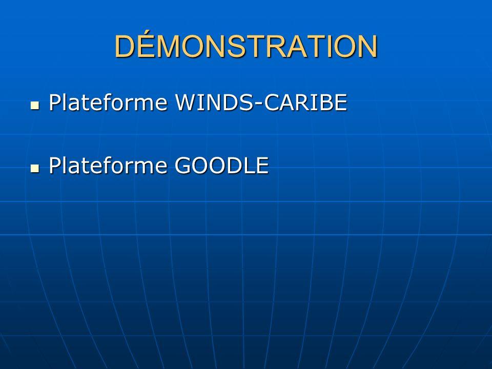 DÉMONSTRATION Plateforme WINDS-CARIBE Plateforme WINDS-CARIBE Plateforme GOODLE Plateforme GOODLE