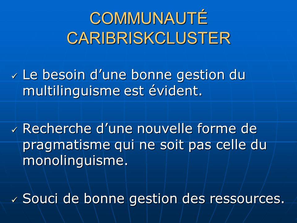 COMMUNAUTÉ CARIBRISKCLUSTER Le besoin dune bonne gestion du multilinguisme est évident.