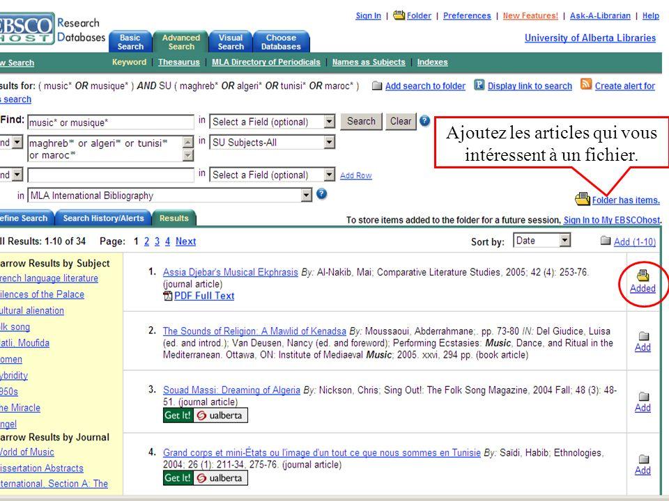 Ajoutez les articles qui vous intéressent à un fichier.