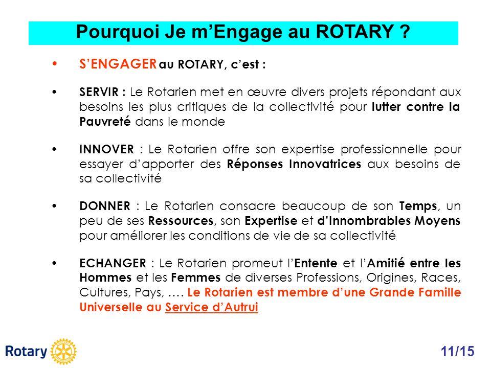 SENGAGER au ROTARY, cest : SERVIR : Le Rotarien met en œuvre divers projets répondant aux besoins les plus critiques de la collectivité pour lutter co