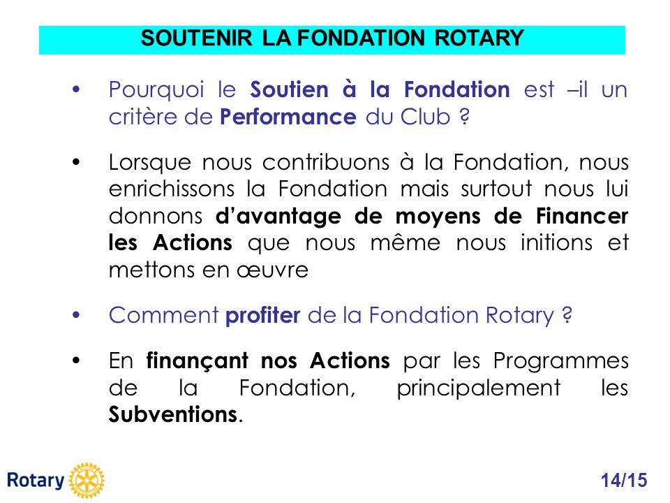 Pourquoi le Soutien à la Fondation est –il un critère de Performance du Club ? Lorsque nous contribuons à la Fondation, nous enrichissons la Fondation