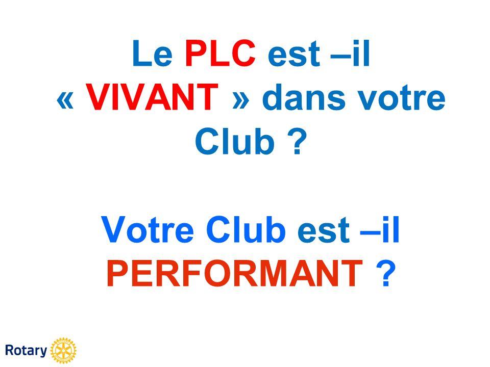 Le PLC est –il « VIVANT » dans votre Club ? Votre Club est –il PERFORMANT ?