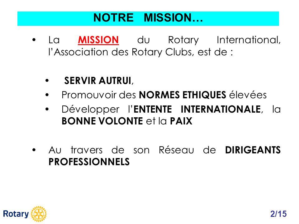La MISSION du Rotary International, lAssociation des Rotary Clubs, est de : SERVIR AUTRUI, Promouvoir des NORMES ETHIQUES élevées Développer l ENTENTE