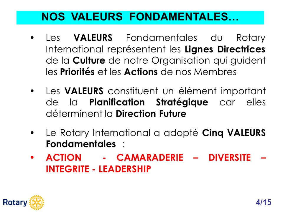 Les VALEURS Fondamentales du Rotary International représentent les Lignes Directrices de la Culture de notre Organisation qui guident les Priorités et