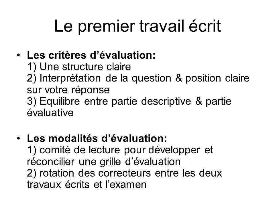 Le premier travail écrit Les critères dévaluation: 1) Une structure claire 2) Interprétation de la question & position claire sur votre réponse 3) Equ