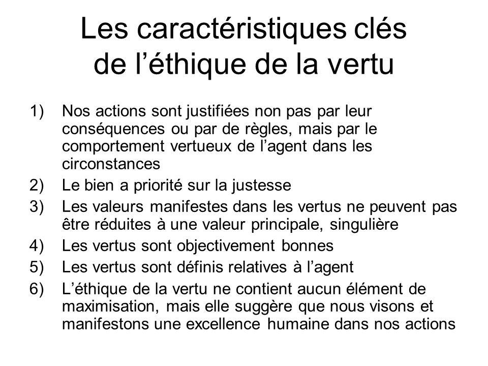 Les caractéristiques clés de léthique de la vertu 1)Nos actions sont justifiées non pas par leur conséquences ou par de règles, mais par le comporteme