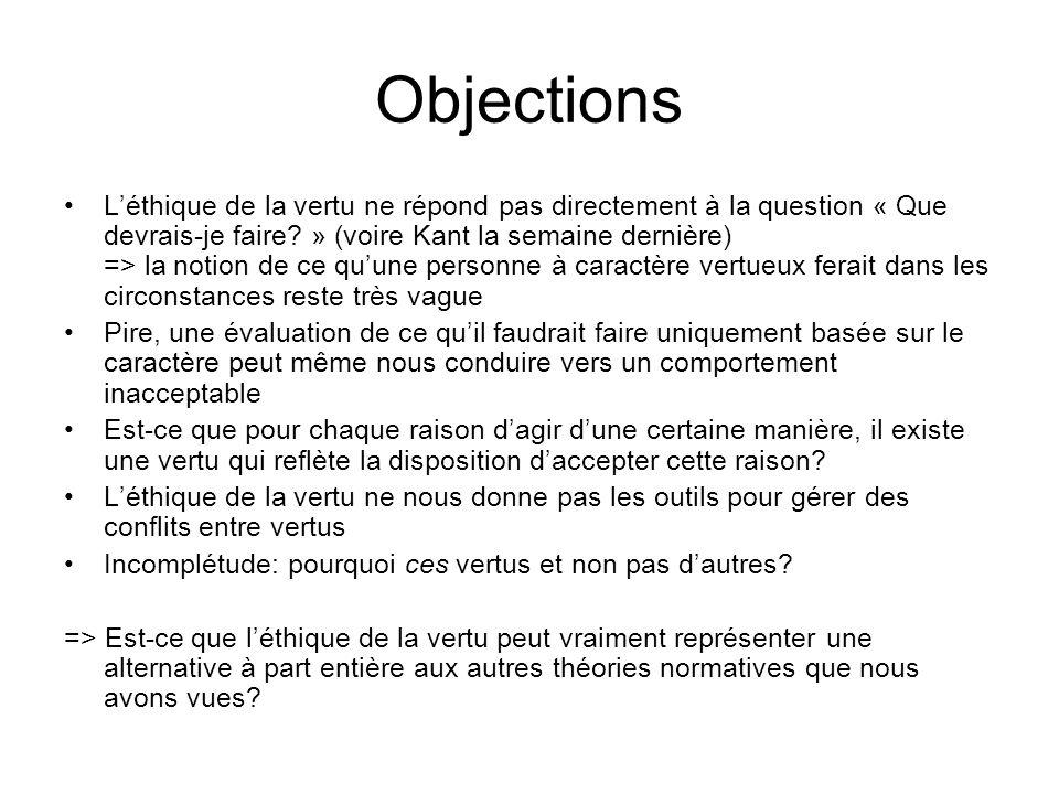 Objections Léthique de la vertu ne répond pas directement à la question « Que devrais-je faire? » (voire Kant la semaine dernière) => la notion de ce