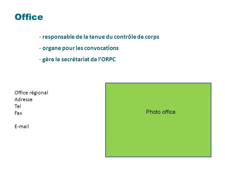 Office - responsable de la tenue du contrôle de corps - organe pour les convocations - gère le secrétariat de lORPC Office régional Adresse Tel Fax E-mail Photo office
