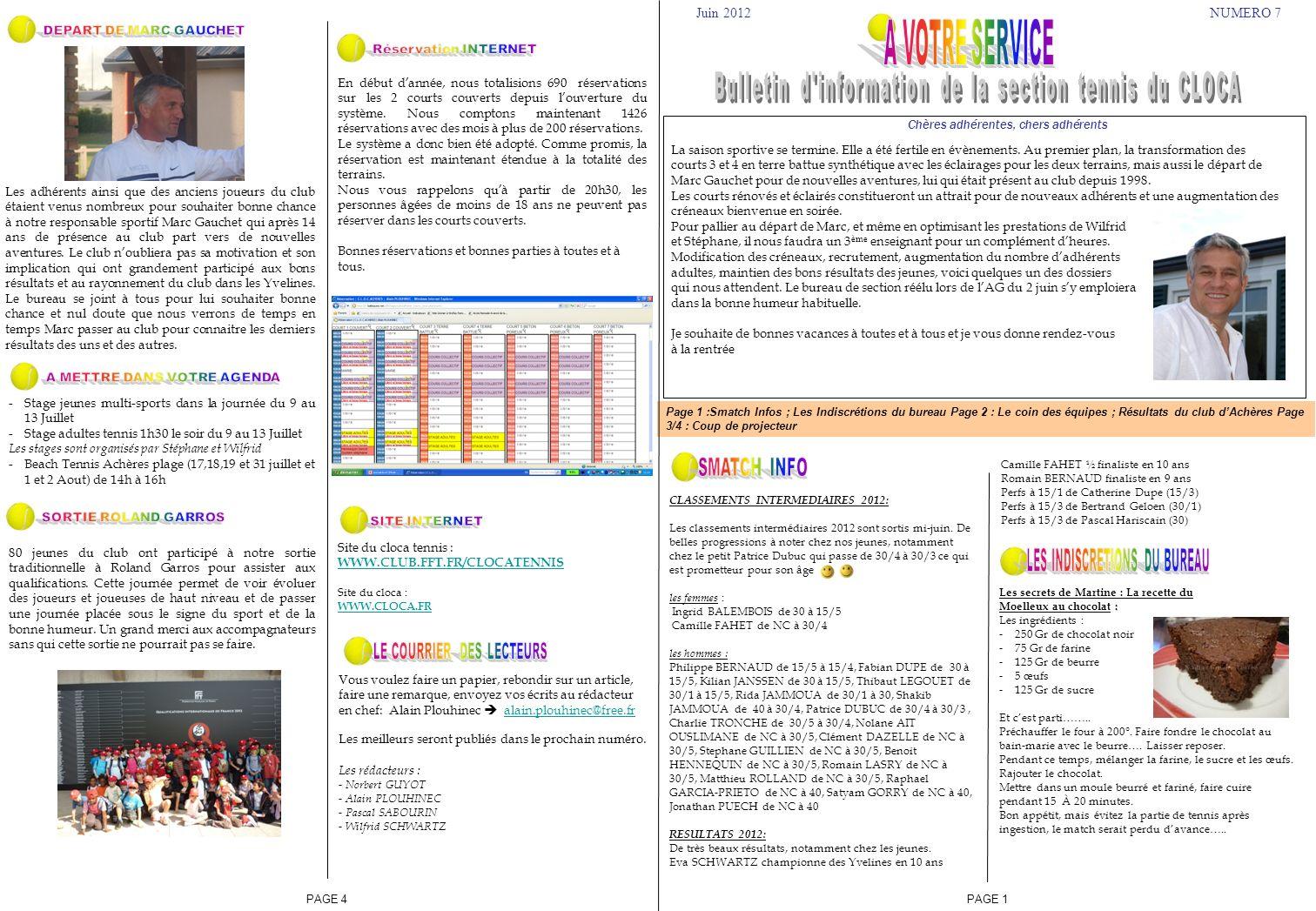 Page 1 :Smatch Infos ; Les Indiscrétions du bureau Page 2 : Le coin des équipes ; Résultats du club dAchères Page 3/4 : Coup de projecteur Juin 2012NU