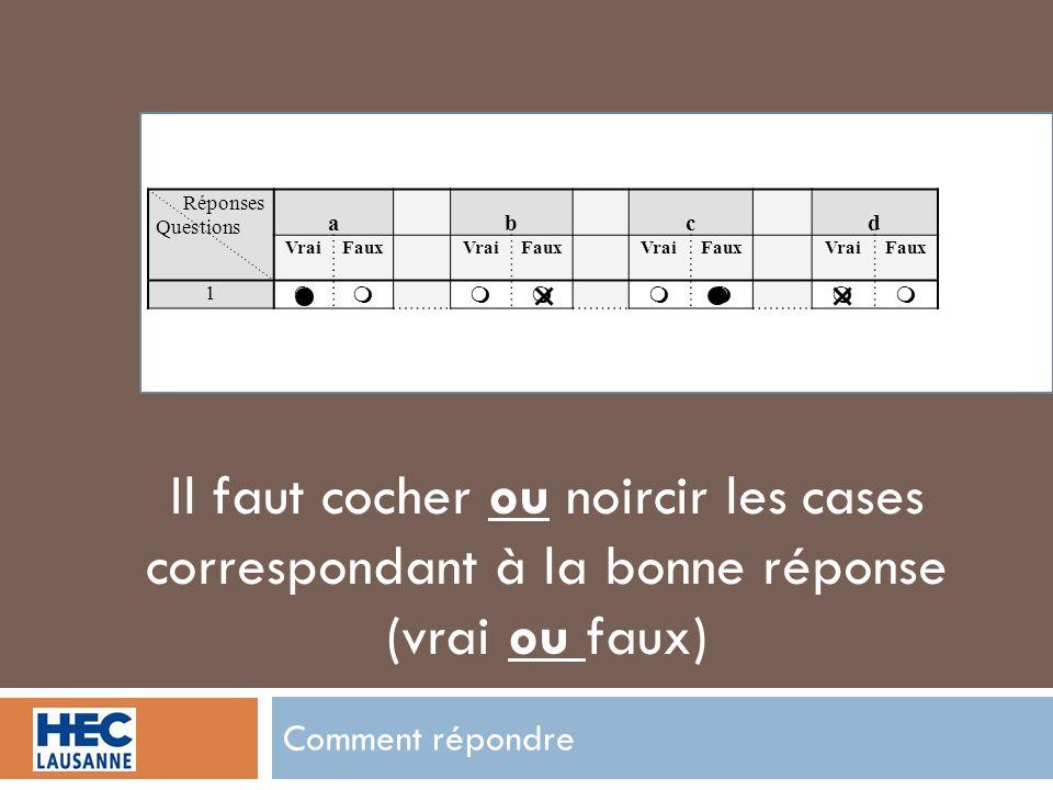 Comment répondre Réponses Questions abcd VraiFauxVraiFauxVraiFauxVraiFaux 1 Il faut cocher ou noircir les cases correspondant à la bonne réponse (vrai ou faux)