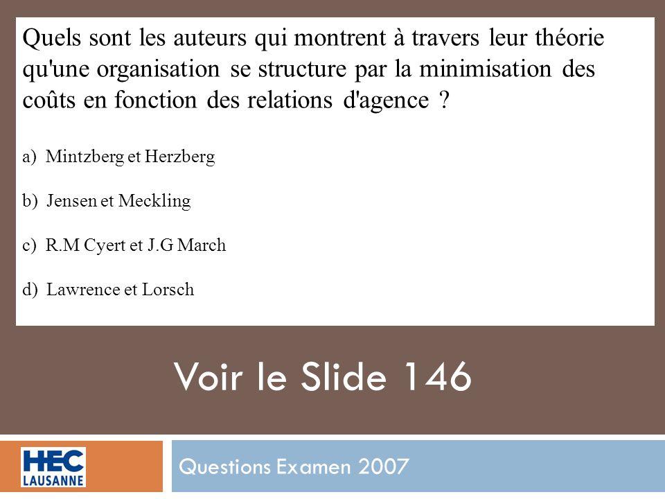 Questions Examen 2007 Quels sont les auteurs qui montrent à travers leur théorie qu une organisation se structure par la minimisation des coûts en fonction des relations d agence .