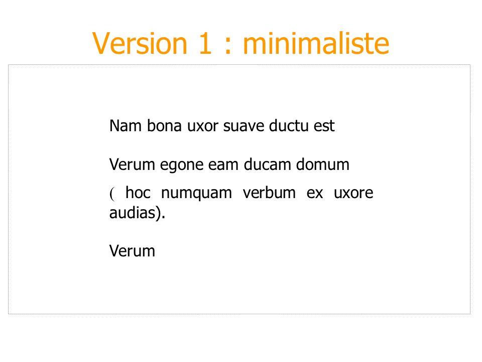 Version 1 : minimaliste Nam bona uxor suave ductu est Verum egone eam ducam domum ( hoc numquam verbum ex uxore audias). Verum
