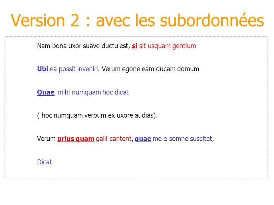 Version 2 : avec les subordonnées Nam bona uxor suave ductu est, si sit usquam gentium Ubi ea possit inveniri. Verum egone eam ducam domum Quae mihi n