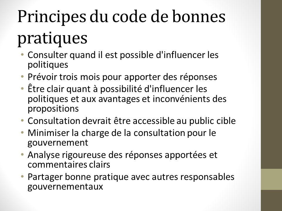 Principes du code de bonnes pratiques Consulter quand il est possible d'influencer les politiques Prévoir trois mois pour apporter des réponses Être c