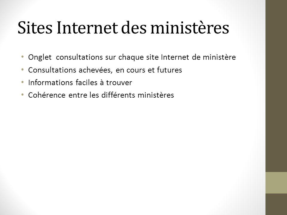 Sites Internet des ministères Onglet consultations sur chaque site Internet de ministère Consultations achevées, en cours et futures Informations faci
