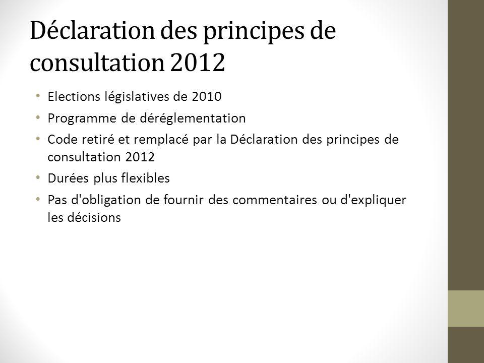 Déclaration des principes de consultation 2012 Elections législatives de 2010 Programme de déréglementation Code retiré et remplacé par la Déclaration