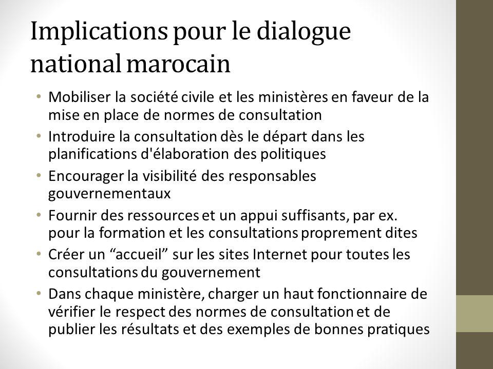 Implications pour le dialogue national marocain Mobiliser la société civile et les ministères en faveur de la mise en place de normes de consultation