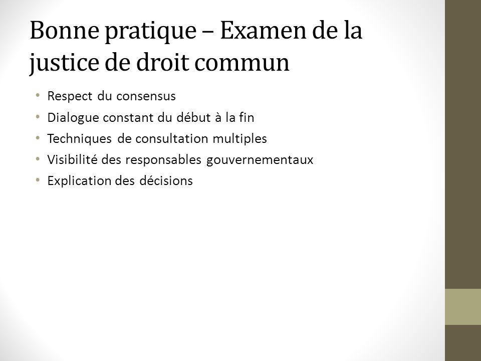 Bonne pratique – Examen de la justice de droit commun Respect du consensus Dialogue constant du début à la fin Techniques de consultation multiples Vi