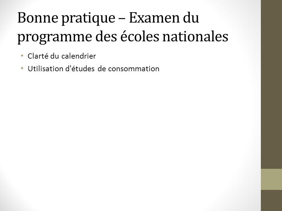 Bonne pratique – Examen du programme des écoles nationales Clarté du calendrier Utilisation d'études de consommation