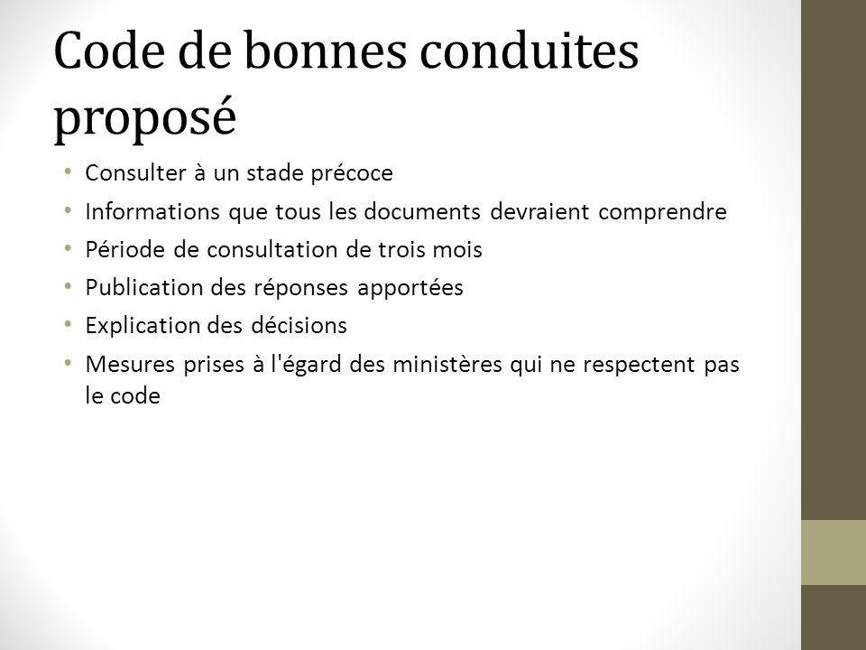 Code de bonnes conduites proposé Consulter à un stade précoce Informations que tous les documents devraient comprendre Période de consultation de troi