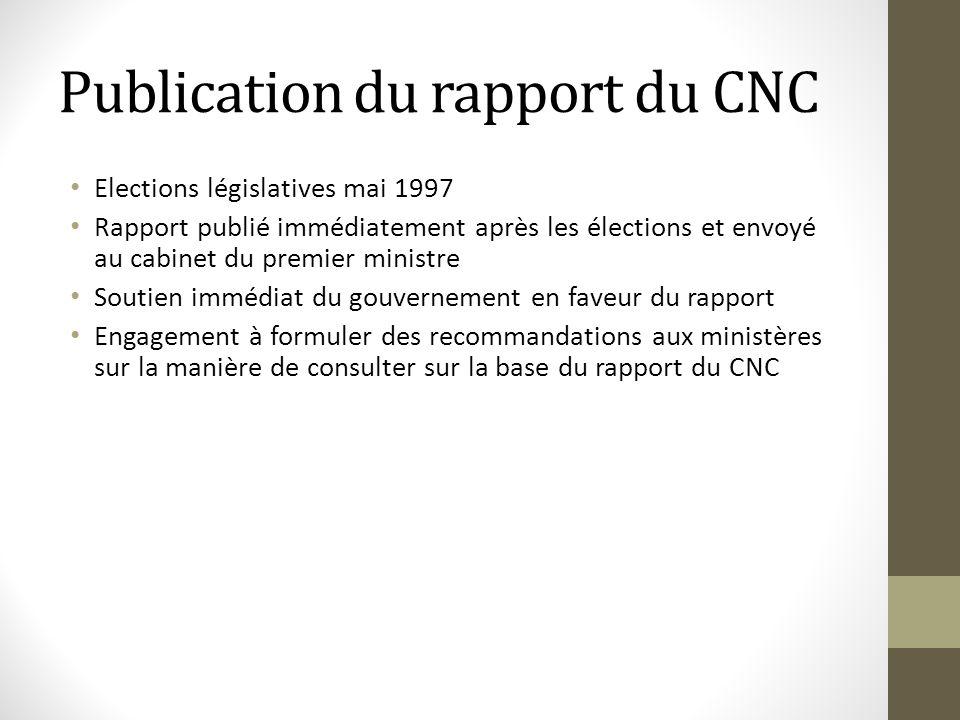 Publication du rapport du CNC Elections législatives mai 1997 Rapport publié immédiatement après les élections et envoyé au cabinet du premier ministr