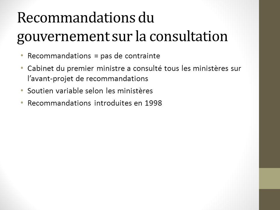 Recommandations du gouvernement sur la consultation Recommandations = pas de contrainte Cabinet du premier ministre a consulté tous les ministères sur