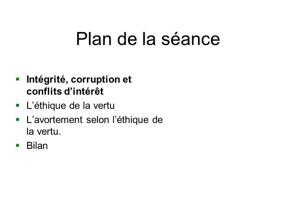 Plan de la séance Intégrité, corruption et conflits dintérêt Léthique de la vertu Lavortement selon léthique de la vertu. Bilan
