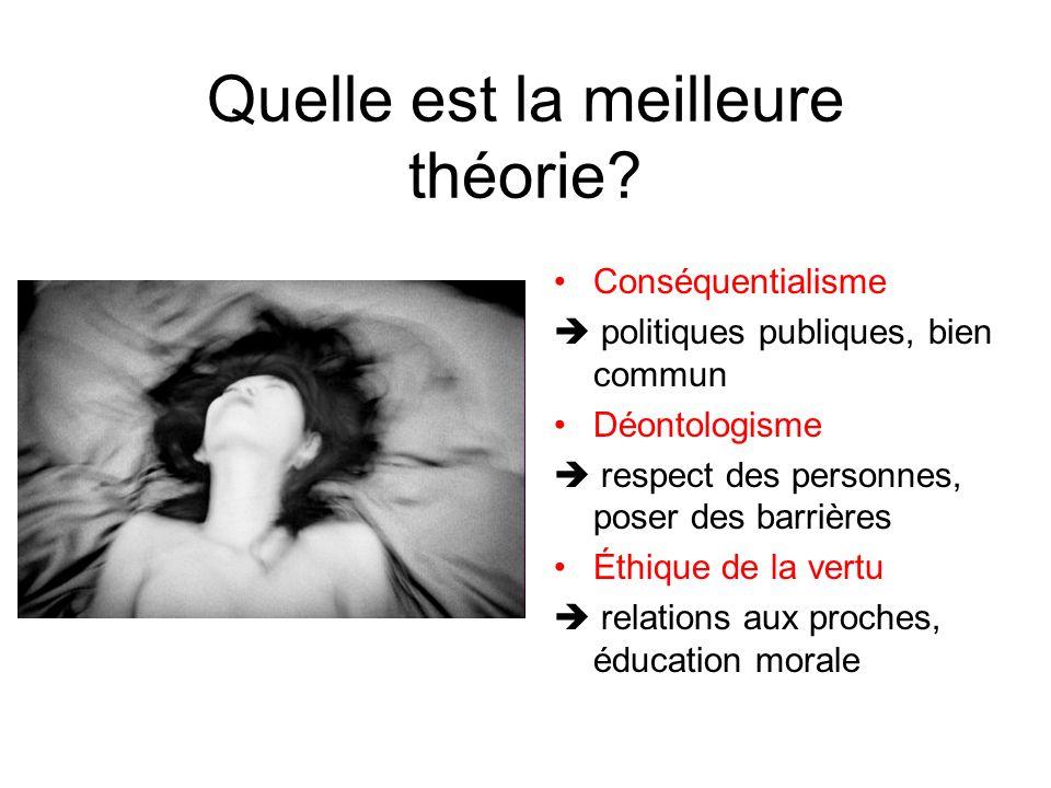 Quelle est la meilleure théorie? Conséquentialisme politiques publiques, bien commun Déontologisme respect des personnes, poser des barrières Éthique