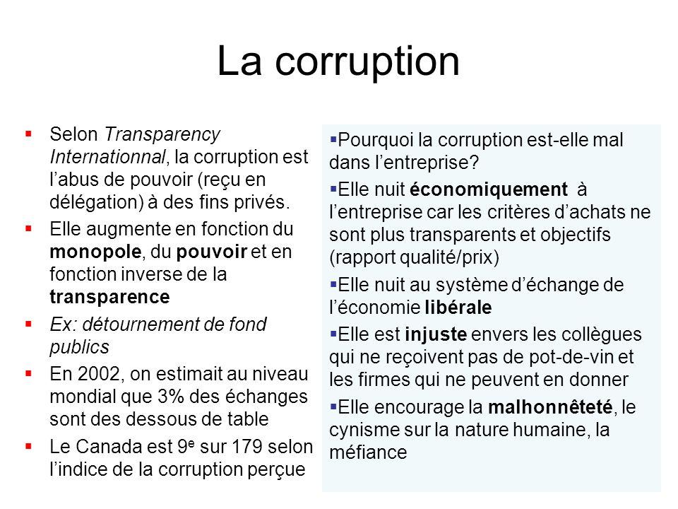 La corruption Selon Transparency Internationnal, la corruption est labus de pouvoir (reçu en délégation) à des fins privés. Elle augmente en fonction