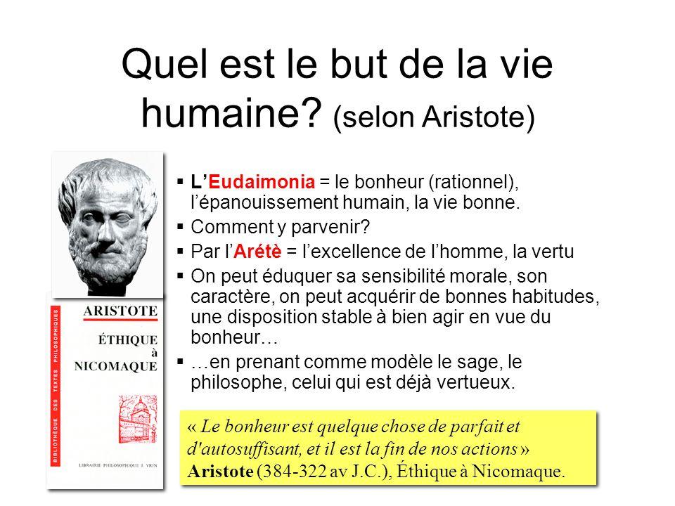 Quel est le but de la vie humaine? (selon Aristote) LEudaimonia = le bonheur (rationnel), lépanouissement humain, la vie bonne. Comment y parvenir? Pa