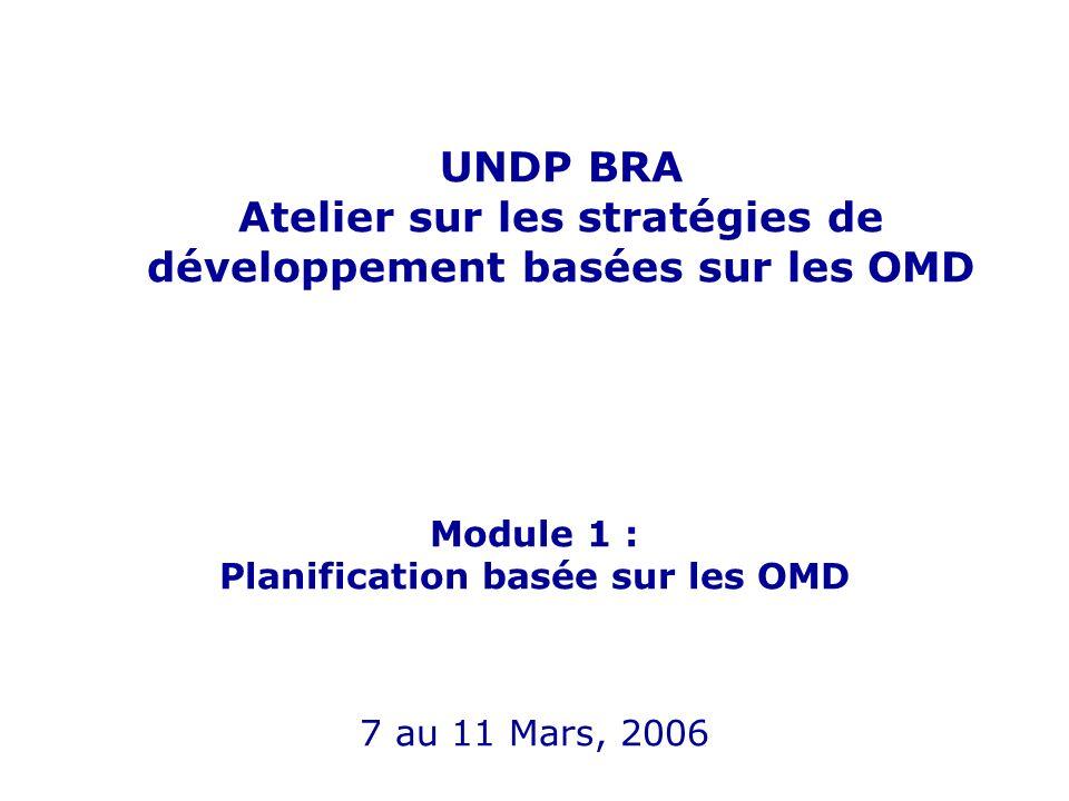 UNDP BRA Atelier sur les stratégies de développement basées sur les OMD Module 1 : Planification basée sur les OMD 7 au 11 Mars, 2006