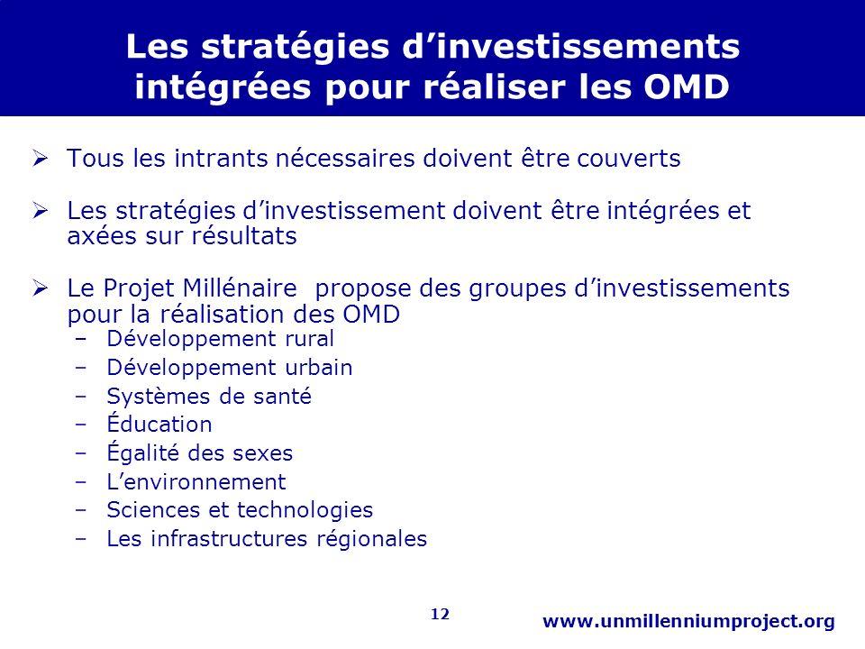 12 www.unmillenniumproject.org Les stratégies dinvestissements intégrées pour réaliser les OMD Tous les intrants nécessaires doivent être couverts Les