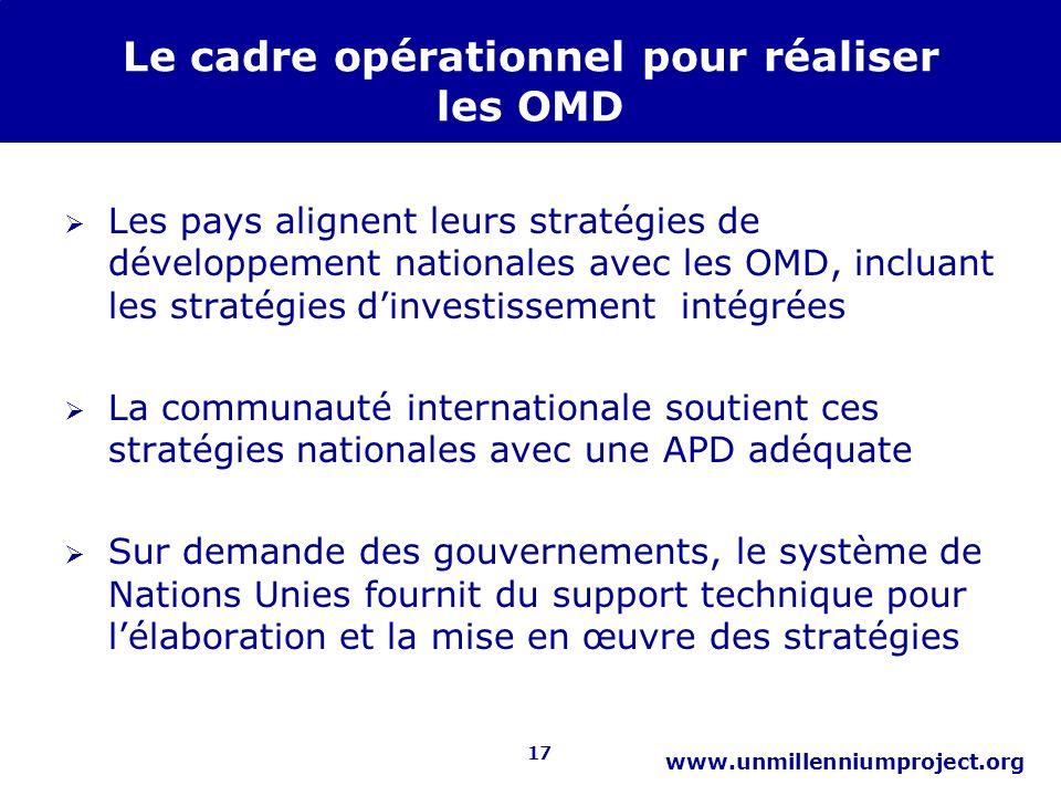 17 www.unmillenniumproject.org Le cadre opérationnel pour réaliser les OMD Les pays alignent leurs stratégies de développement nationales avec les OMD