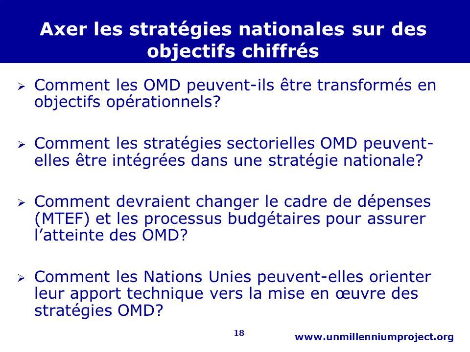 18 www.unmillenniumproject.org Axer les stratégies nationales sur des objectifs chiffrés Comment les OMD peuvent-ils être transformés en objectifs opé