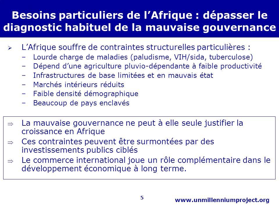 5 www.unmillenniumproject.org Besoins particuliers de lAfrique : dépasser le diagnostic habituel de la mauvaise gouvernance LAfrique souffre de contra