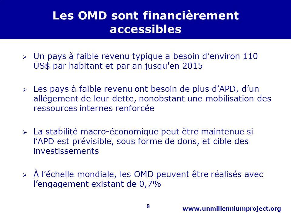 8 www.unmillenniumproject.org Les OMD sont financièrement accessibles Un pays à faible revenu typique a besoin denviron 110 US$ par habitant et par an