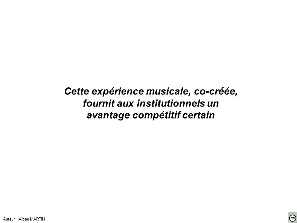 Cette expérience musicale, co-créée, fournit aux institutionnels un avantage compétitif certain Auteur : Alban MARTIN