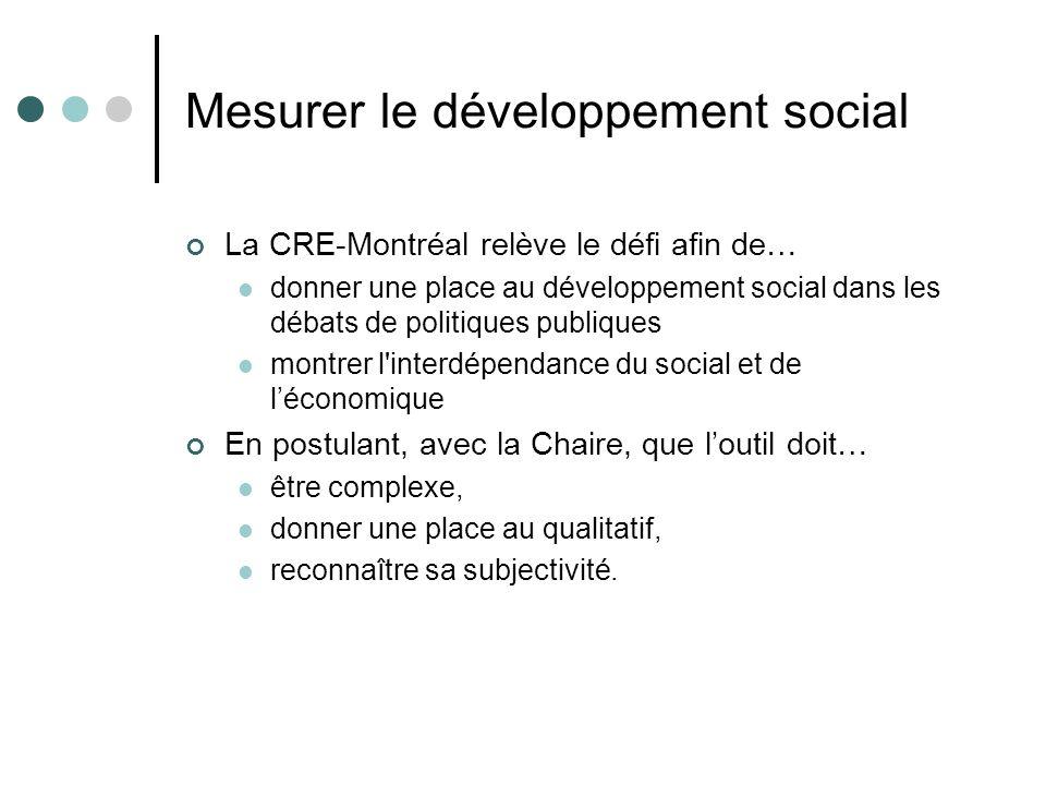 Mesurer le développement social La CRE-Montréal relève le défi afin de… donner une place au développement social dans les débats de politiques publiqu