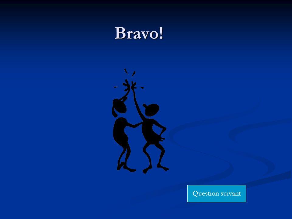 Bravo! Question suivant