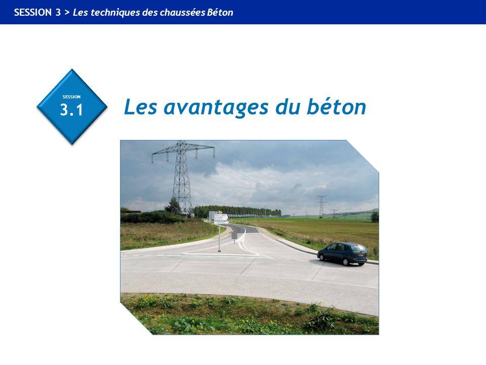 SESSION 3.1 SESSION 3.1 Les avantages du béton SESSION 3 > Les techniques des chaussées Béton