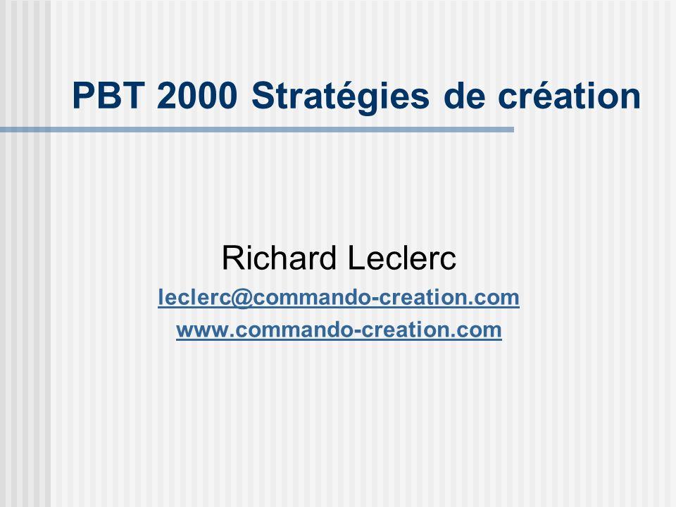 Richard Leclerc leclerc@commando-creation.com www.commando-creation.com PBT 2000 Stratégies de création